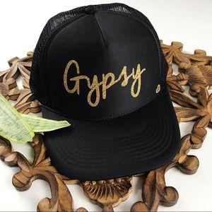 Accessories - BLACK + GOLD GLITTER GYPSY HAT